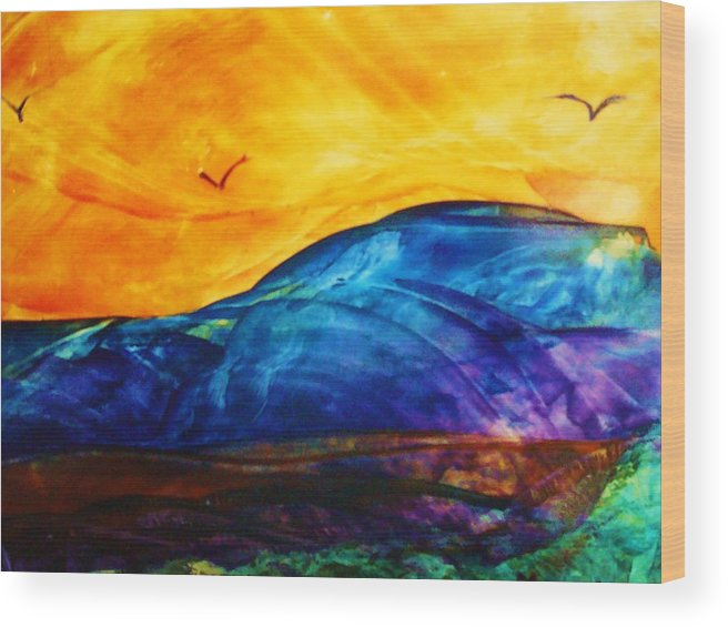 Landscape Wood Print featuring the painting One Fine Day by Melinda Etzold