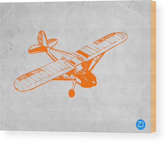 Plane Wood Print featuring the painting Orange Plane 2 by Naxart Studio