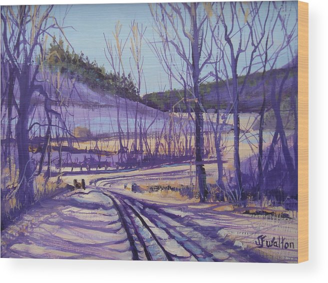 Winter Wood Print featuring the painting Over the bridge and through the woods by Judy Fischer Walton