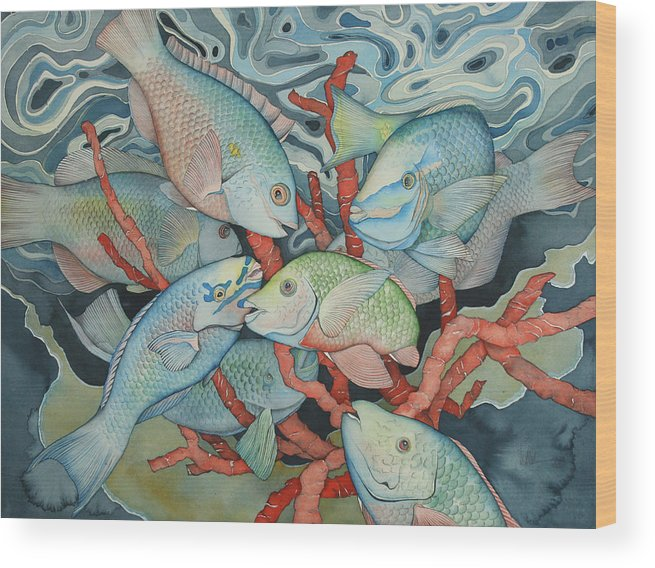 Fish Wood Print featuring the painting Parromania by Liduine Bekman