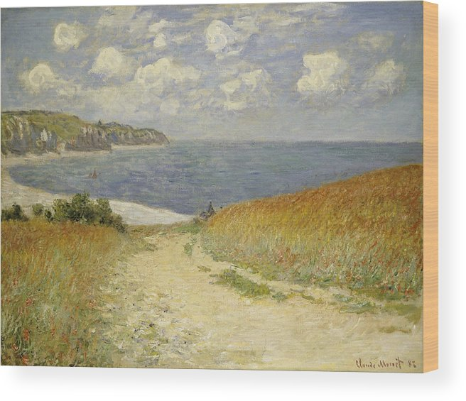 Path In The Wheat At Pourville Wood Print featuring the painting Path in the Wheat at Pourville by Claude Monet