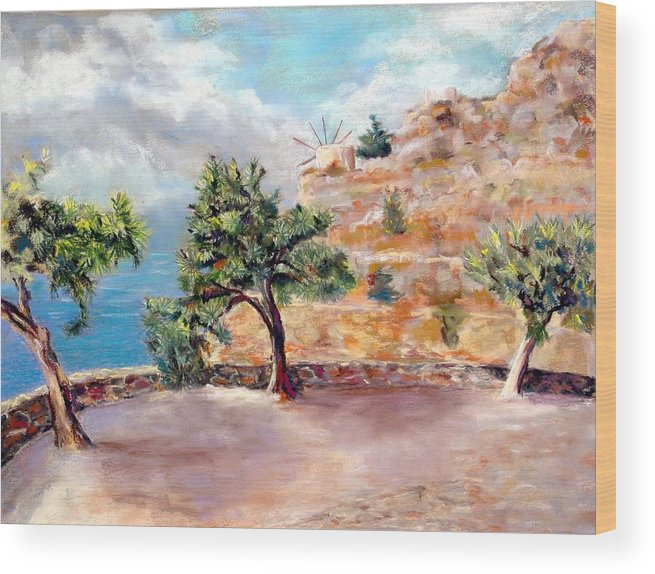 Mediteranean Wood Print featuring the painting Path to Vlichos by David Horning
