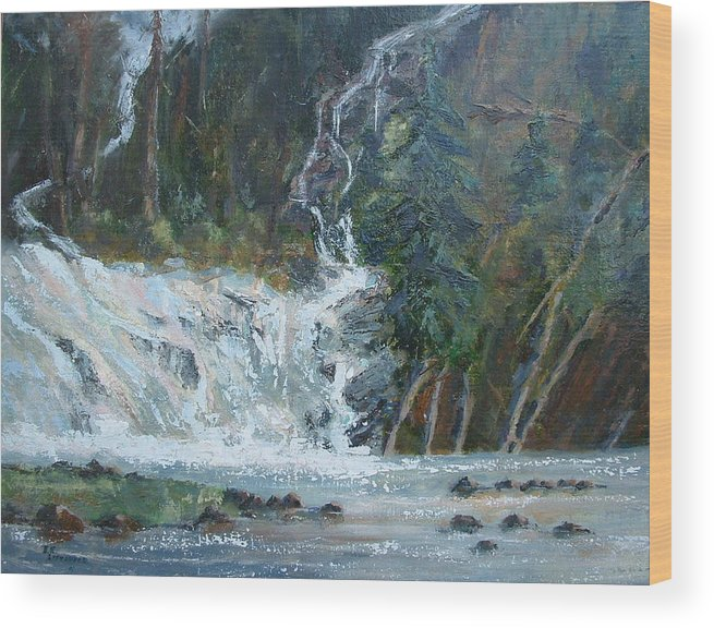 Landscape Wood Print featuring the painting Pelican Falls by Bryan Alexander