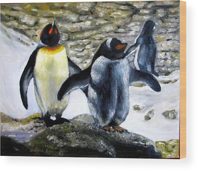 Oil On Canvas Wood Print featuring the painting Penguines original oil painting by Natalja Picugina