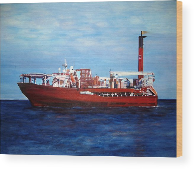 Ship Wood Print featuring the painting Petrojarl Banff by Fiona Jack