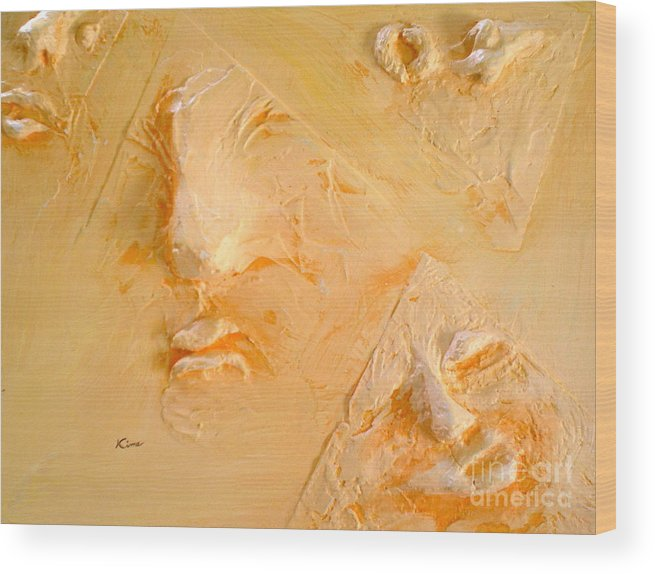 Portraits Wood Print featuring the painting Plastic Wraps by Kime Einhorn