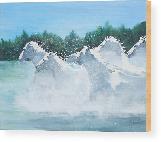 Horse Wood Print featuring the painting Splash 2 by Ally Benbrook