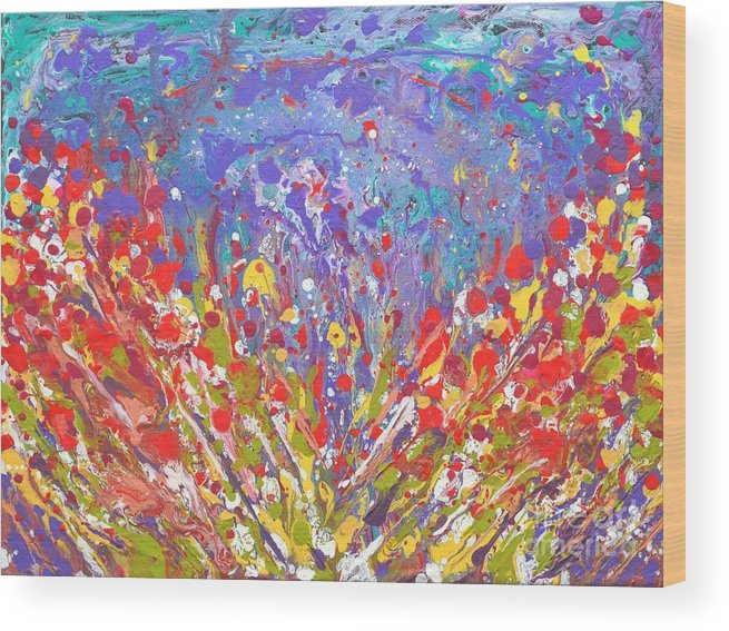 Poppies Wood Print featuring the painting Poppies Abstract Meadow Painting by Manjiri Kanvinde
