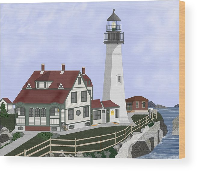 Portland Head Lighthouse Wood Print featuring the painting Portland Head Maine on Cape Elizabeth by Anne Norskog