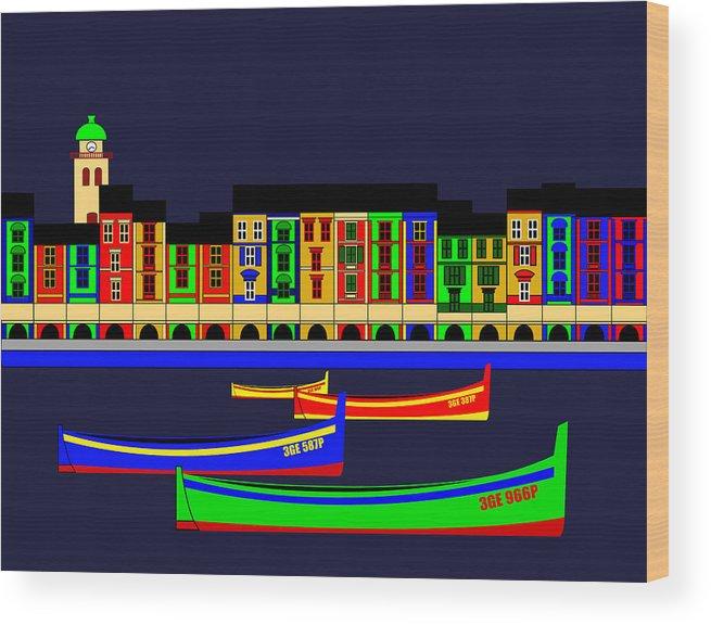 Wood Print featuring the digital art Portofino Inspirations by Lonvig