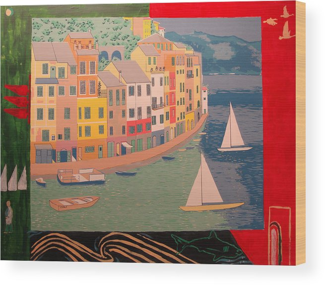 Wood Print featuring the painting Portofino with birds by Biagio Civale