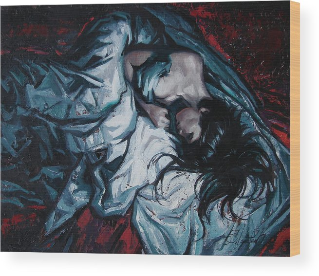 Oil Wood Print featuring the painting Presentiment of insomnia by Sergey Ignatenko
