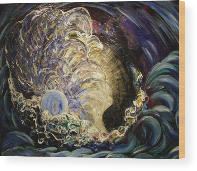 Woman Wood Print featuring the painting Radiant Light by Pam Ellis