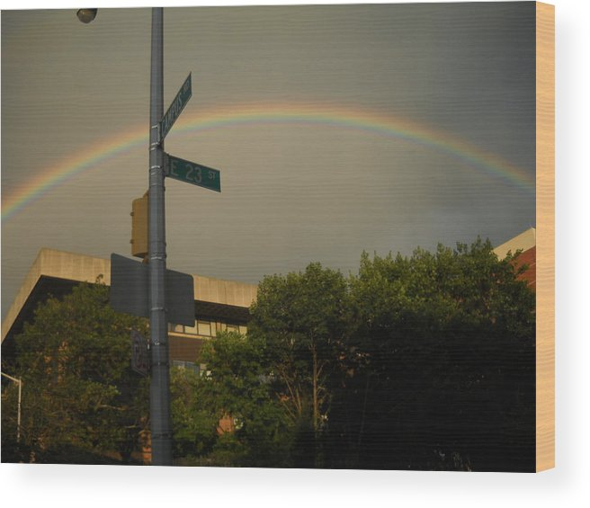 Rainbow Wood Print featuring the photograph Rainbow Over Brooklyn by Michael Facey