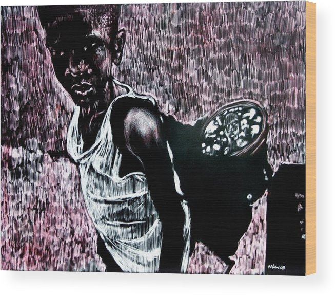 Portrait Wood Print featuring the mixed media Reflection by Chester Elmore