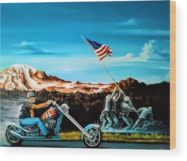 Iwojima Wood Print featuring the painting Ride Forever by DC Houle