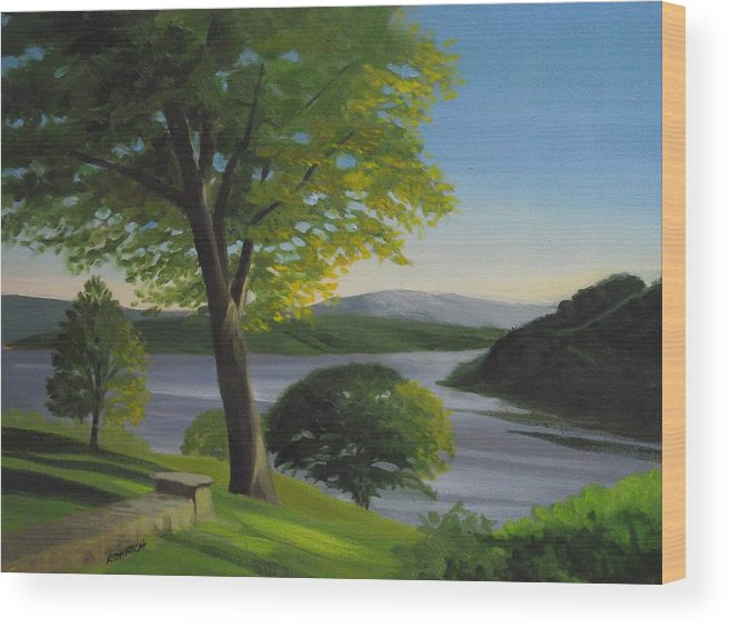 Landscape Wood Print featuring the painting River Bend by Robert Rohrich