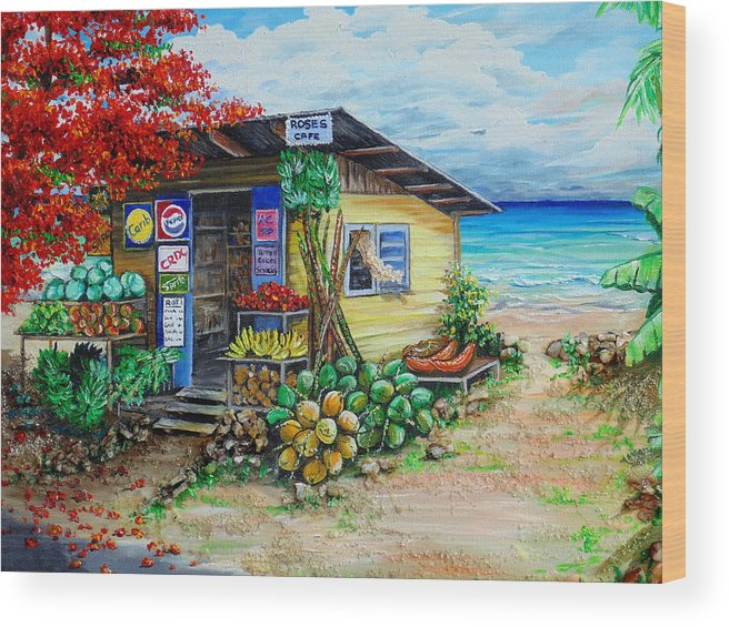 Beach Cafe Wood Print featuring the painting Rosies Beach Cafe by Karin Dawn Kelshall- Best