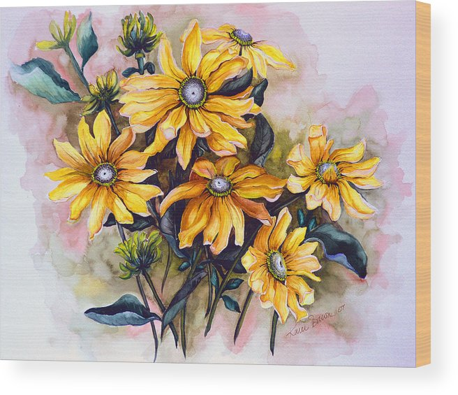 Flower Painting Sun Flower Painting Flower Botanical Painting  Original Watercolor Painting Rudebeckia Painting Floral Painting Yellow Painting Greeting Card Painting Wood Print featuring the painting RUDBECKIA Prairie Sun by Karin Dawn Kelshall- Best