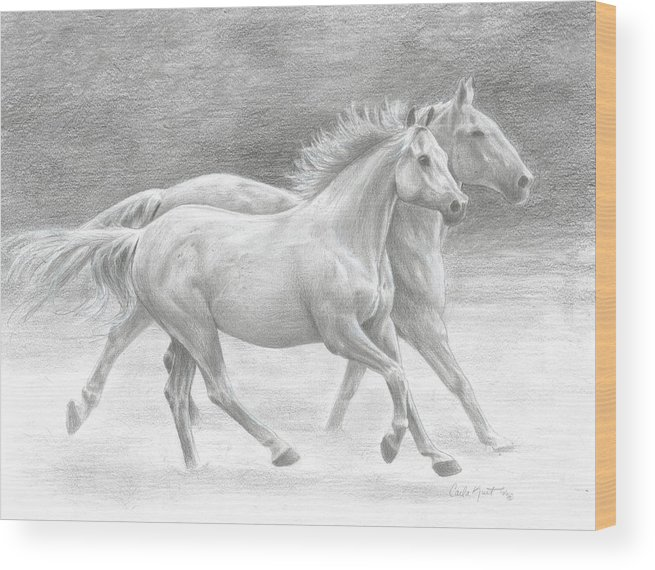 Horses Wood Print featuring the drawing Running Free by Carla Kurt