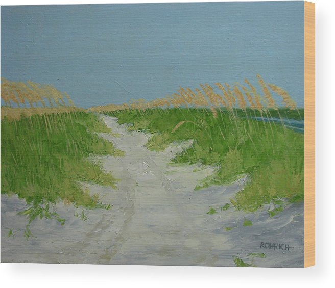 Ocean Wood Print featuring the painting SAND DUNES No 4 by Robert Rohrich