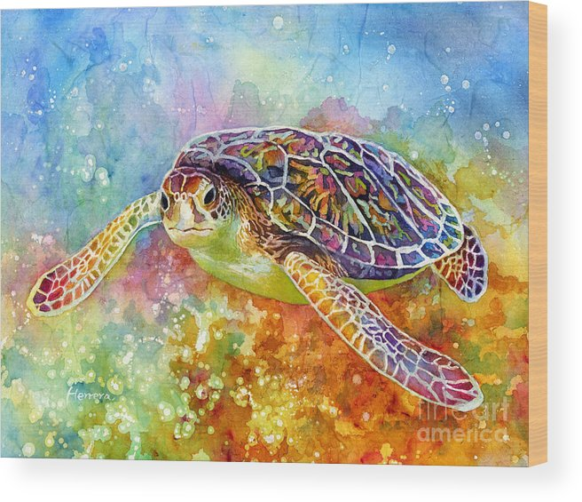 Turtle Wood Print featuring the painting Sea Turtle 3 by Hailey E Herrera