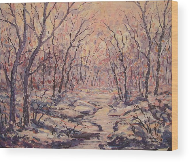 Landscape Wood Print featuring the painting Snow In The Woods. by Leonard Holland