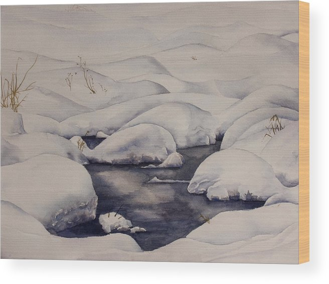 Snow Wood Print featuring the painting Snow Pool by Debbie Homewood