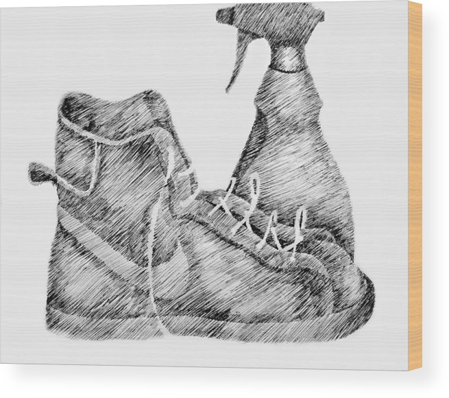 Pen Wood Print featuring the drawing Still Life with Shoe and Spray Bottle by Michelle Calkins