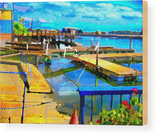 Wood Print featuring the digital art Stockton Harbor by Danielle Stephenson