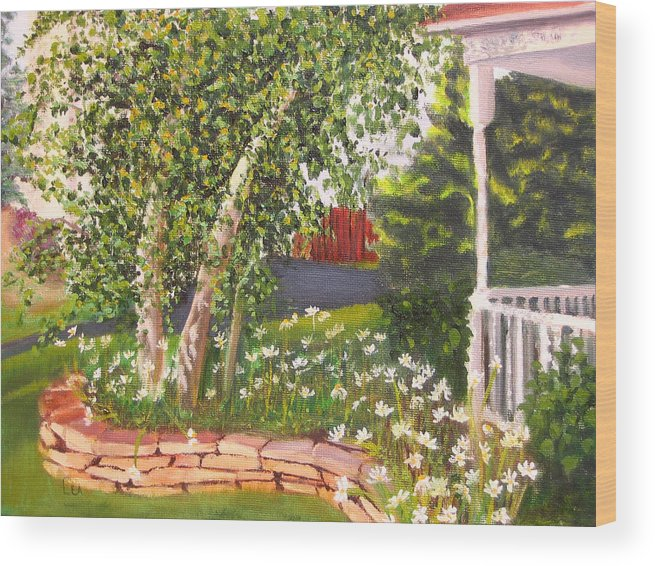 Daisies Wood Print featuring the painting Summer Garden by Lea Novak