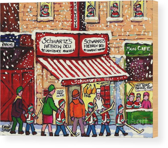 Montreal Wood Print featuring the painting Sunday Lineup at the Deli by Carole Spandau