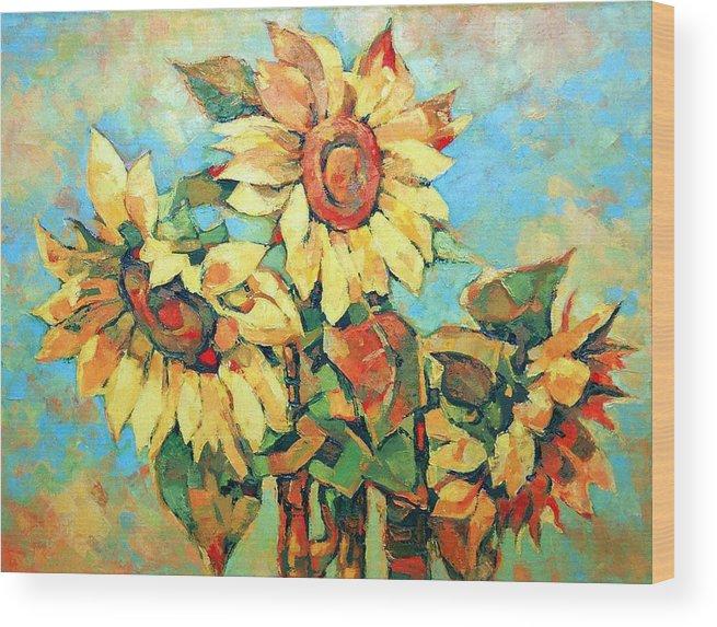 Sunflowers Wood Print featuring the painting Sunflowers by Iliyan Bozhanov