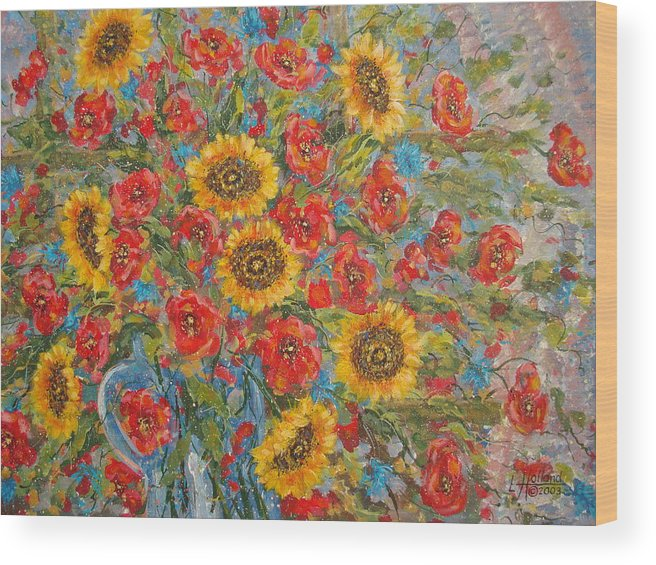 Flowers Wood Print featuring the painting Sunflowers In Blue Pitcher. by Leonard Holland
