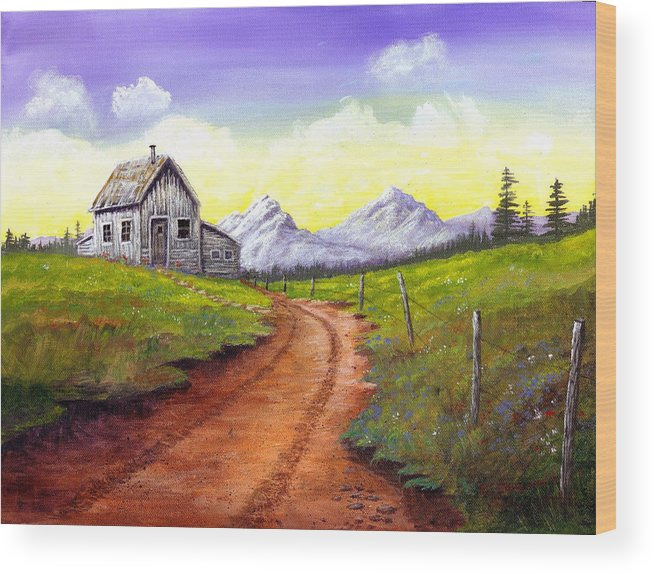 Landscape Wood Print featuring the painting Sunlit Cabin by SueEllen Cowan