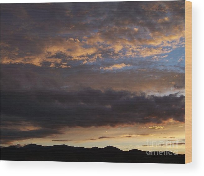 Sky Wood Print featuring the photograph Sunrise-Before the Storm by Brian Commerford