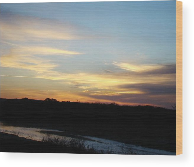 Landscape Wood Print featuring the photograph Sunrise River Three by Ana Villaronga