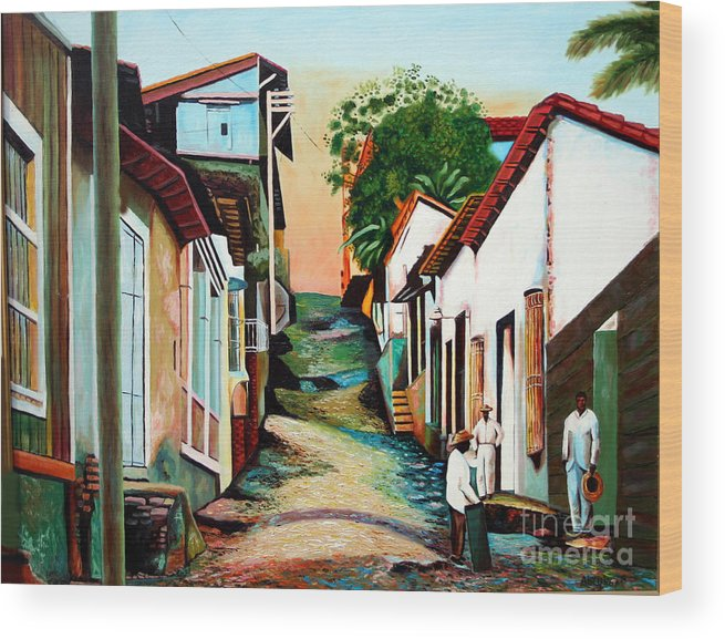 Cuban Art Wood Print featuring the painting Sunset by Jose Manuel Abraham