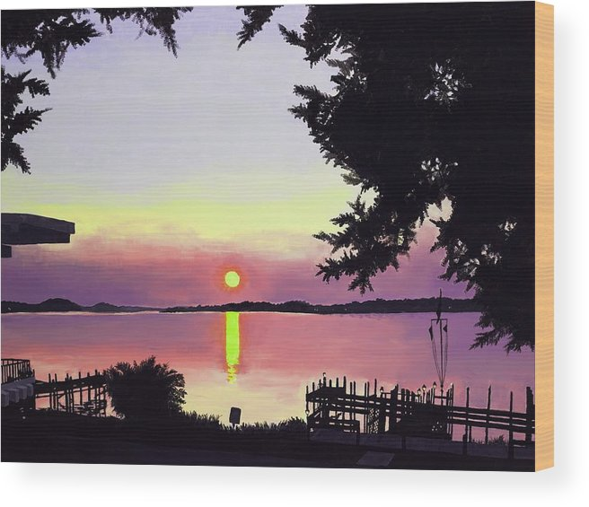 Sunset On Lake Wood Print featuring the painting Sunset on Lake Dora by Judy Swerlick