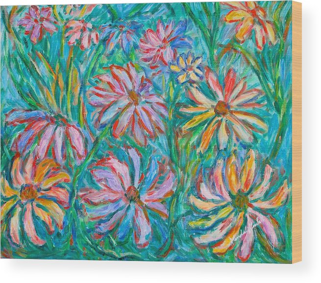 Impressionist Wood Print featuring the painting Swirling Color by Kendall Kessler