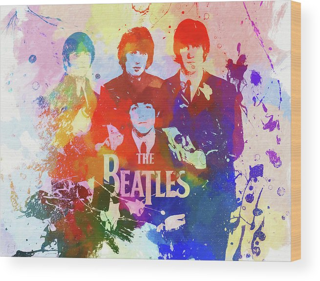 The Beatles Watercolor Wood Print featuring the painting The Beatles Paint Splatter by Dan Sproul