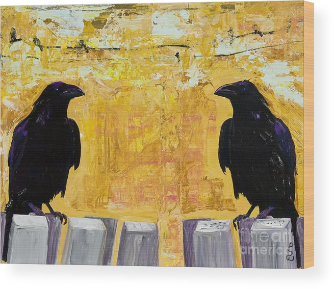 Abstract Realism Wood Print featuring the painting The Gossips by Pat Saunders-White