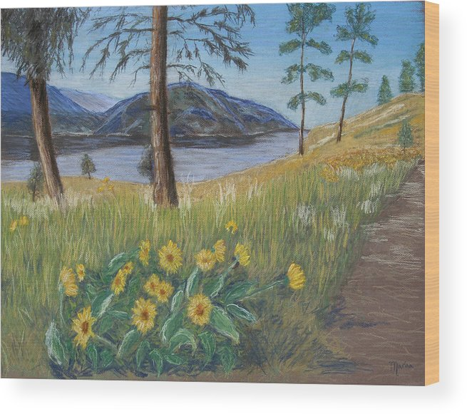 Lake View Wood Print featuring the painting The Lake Trail by Marina Garrison