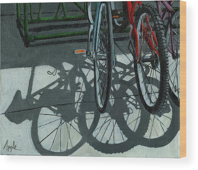 Bicycles Wood Print featuring the painting The Secret Meeting - bicycle shadows by Linda Apple