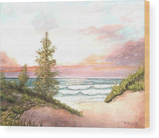 Shore Wood Print featuring the painting The Shore by Nicholas Minniti