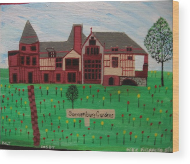 Landscape Wood Print featuring the painting The Sonnenburg Mansion by Mike Filippello