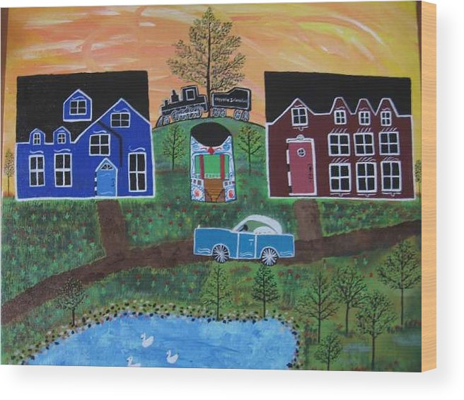 Folk Art Village With Car Wood Print featuring the painting The Train at Galakendra's Elm by Mike Filippello