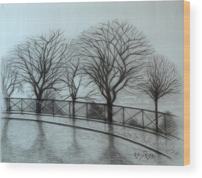 Paris Wood Print featuring the drawing The trees by Sacre-Coeur in Montmartre by Raimonda Jatkeviciute-Kasparaviciene