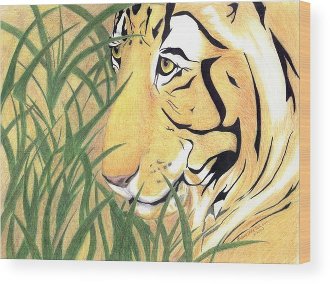Tiger Wood Print featuring the drawing Tiger Traveler - www.jennifer-d-art.com by Jennifer Skalecke