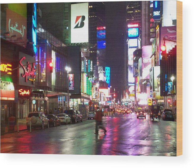 Times Square Wood Print featuring the photograph Times Square in the rain 2 by Anita Burgermeister